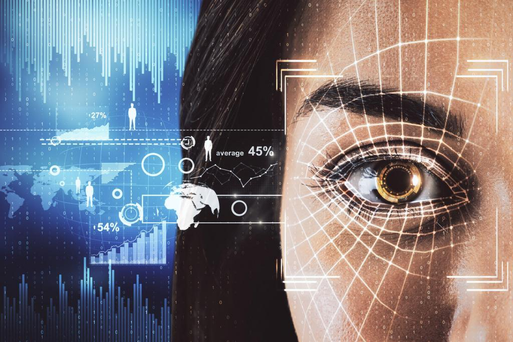 Access and protection concept. Abstract woman portrait with face ID eye interface om blurry blue background. Double exposure